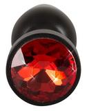 Hliníkový anální kolík s drahokamem (červeno-černý)