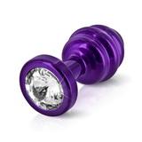 Anální kolík Diogol Ano Ribbed Purple 25 mm