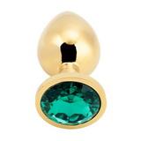 Anální kolík s křišťálem PLGZ L gold-dark green