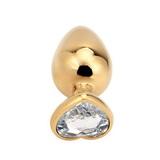 Srdíčkový anální kolík s křišťálem PLGZ L gold-clear