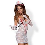 Erotické šaty Obsessive Medica bílé + stetoskop