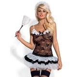 Erotický kostým Obessive Housemaid černo-bílý