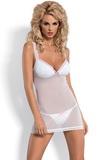 Erotická košilka Obsessive Monita bílo-růžová