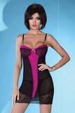 Erotická košilka LivCo Corsetti Nancy černo-růžová