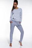 Dámské pyžamo Cornette 63430 Molly šedo-bílé