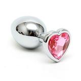 Anální kolík s křišťálem HEART silver-pink